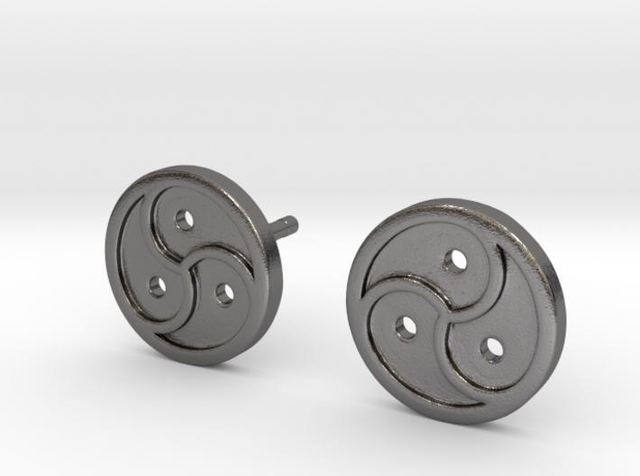 Triskele Earrings 3d printed Triskele Earrings - Polished Nickel Steel