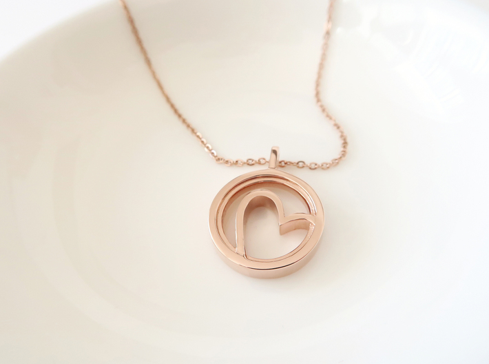Heart  3d printed 14k plated Rose Gold
