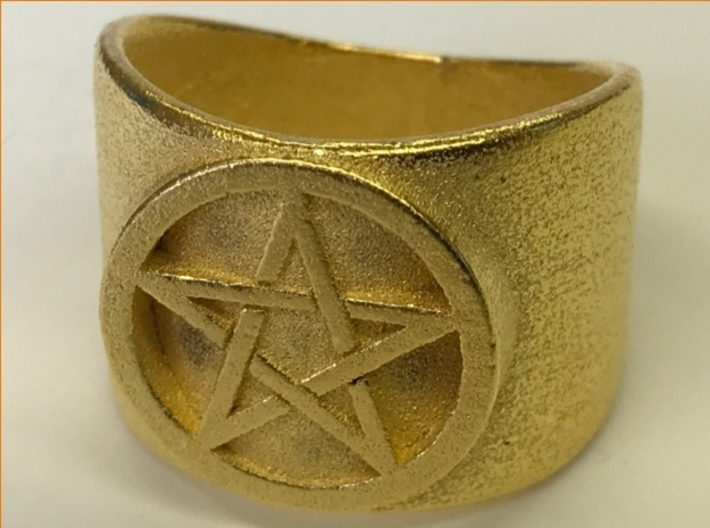 Pentacle Ring - thick 3d printed Thick pentacle ring in polished gold steel.