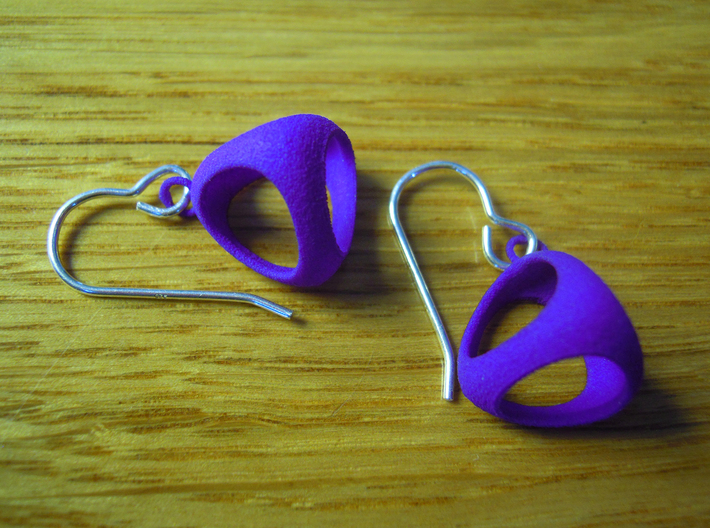 Tetrahedron Earrings 3d printed