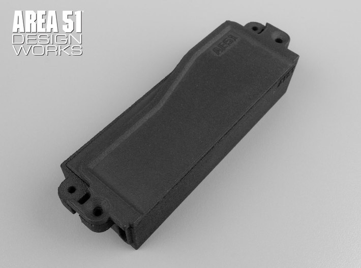 RC8B3.1 Enclosed Battery Box 3d printed Shown in optional black after assembly