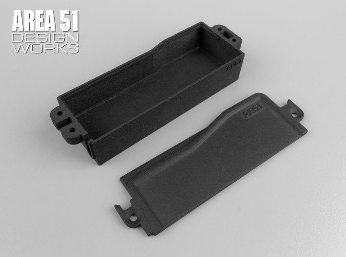 RC8B3.1 Enclosed Battery Box 3d printed Top and bottom pieces after separation