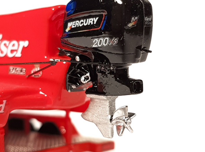 """1/87 Speedboat Outboard Motor """"MERCURY 200 XS"""" 3d printed Mercury XS200 with F1 Boat """"Miss Budweiser"""""""