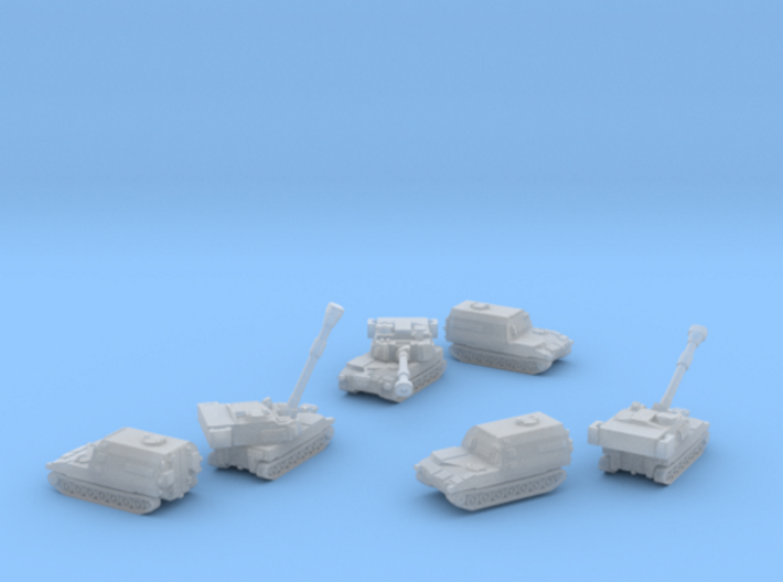 Paladin SP Howitzer and Ammunition Supply Vehicle 3d printed Paladin M109A6 & M992A2 six piece set