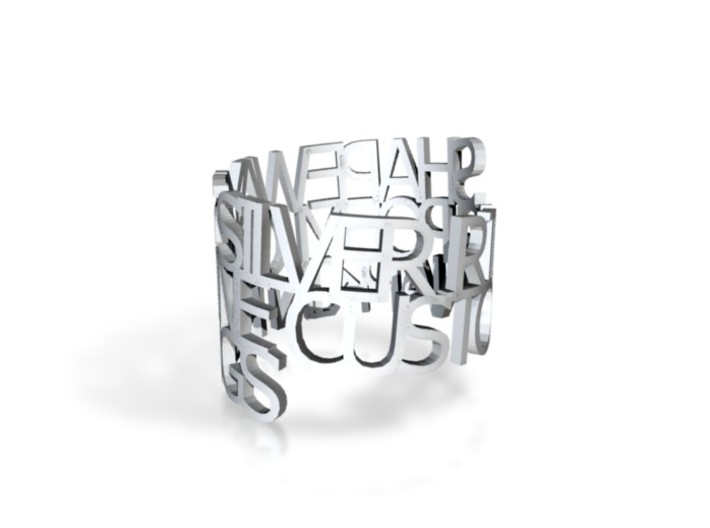 Ring Poem -zilver 3d printed