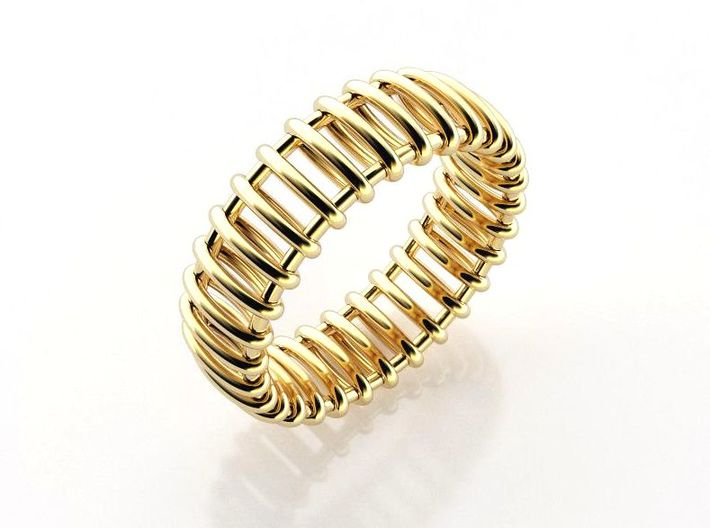 Small Structure Ring  3d printed Railway gold band