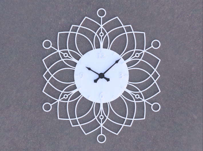 Sunburst Clock - Deanna 3d printed Render of clock face with hands added