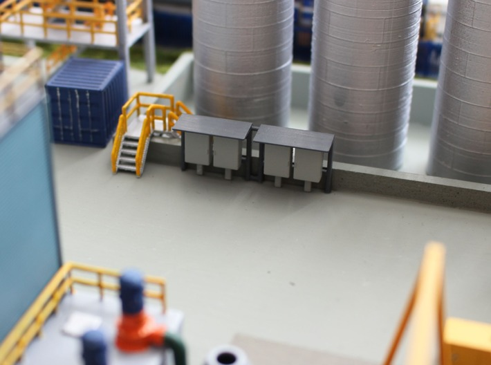 N Scale 2 Industrial Relay Cabinets 3d printed Painted cabinets on my factory site