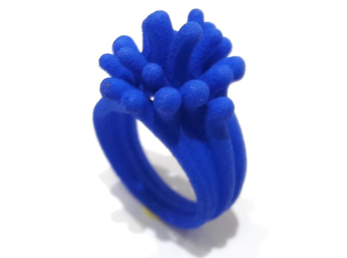 Water and Fire Ring  3d printed Blue Splash Ring
