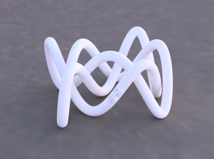 Lissajous Three-Twist Knot 3d printed Example render of knot printed in White Versitile Plastic