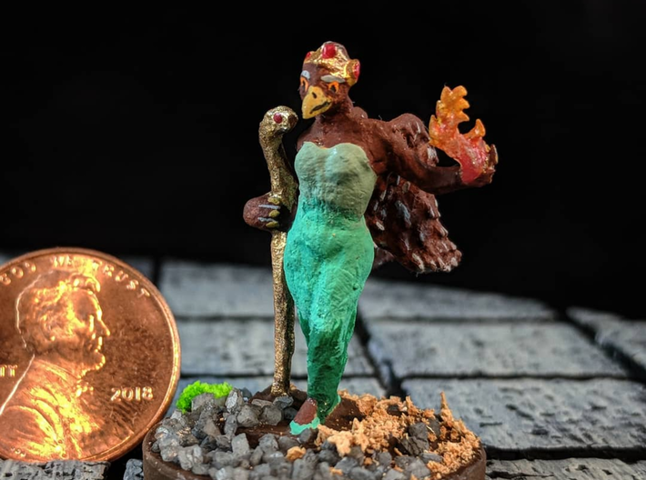 Aarakocra Sorceress  3d printed An example of this model painted and mounted to a modified base.