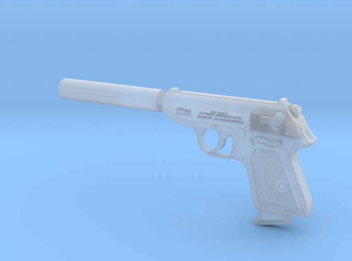Silenced Walther PPK 1:6 scale 3d printed