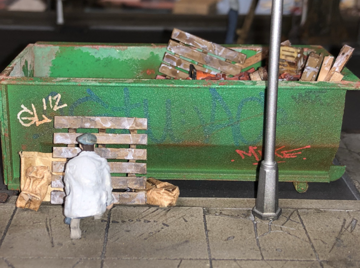 Rolloff Dumpster in O scale 3d printed Painting and weathering by Mike Sannito