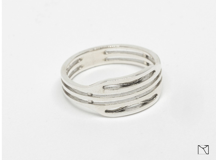 Elegant Ring 3d printed Polished Silver