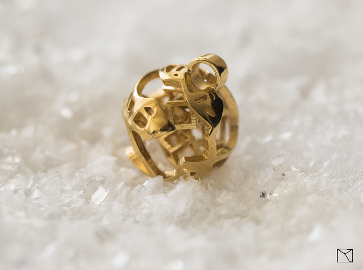 Pendant Abstract Ball 3d printed 18k gold plated
