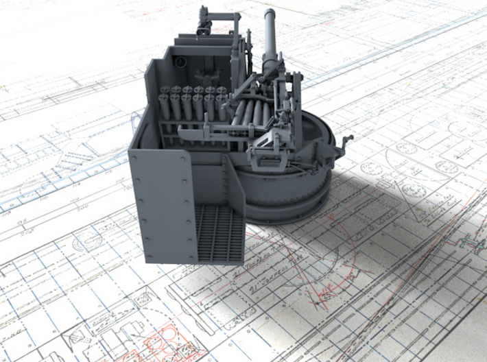1/48 6-pdr (57mm)/7cwt QF MKIIA Fore (MTB) 3d printed 3D render showing product detail