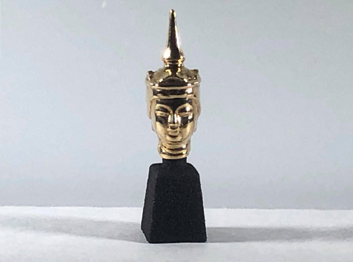 Type 2 Buddha Head (Hollow) 1:6 scale 16mm 3d printed Actual product in Polished Bronze (with optional Black Professional Plastic plinth)