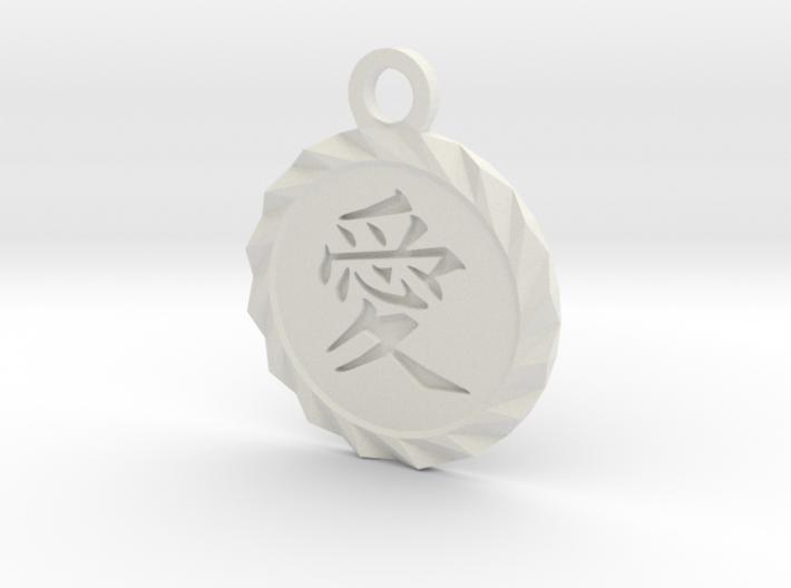 Kanji Love Pendant 3d printed White Natural Versatile Plastic Deep Engraved Kanji Love Pendant