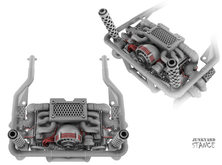 Sand Scorcher Rear Engine Cage 3d printed Rear Engine Cage Design, as part of the Twin Turbo Flat Six Engine Kit