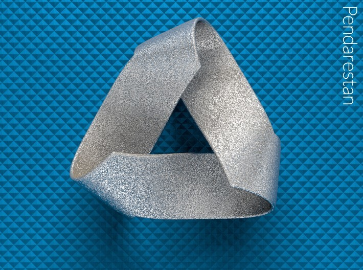 Folded Trigram 3d printed Folded Trigram, an ideal three half-twist Mobius strip with corners, top view