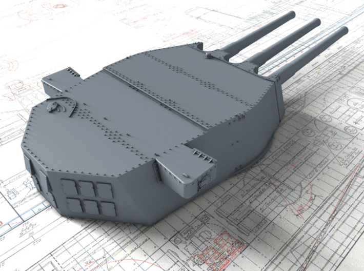 "1/600 HMS Lion Class 16""/45 (40.6 cm) MKII Guns x3 3d printed 3D render showing A Turret"