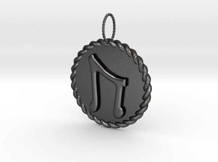 Nordic Rune Uruz Rope Pendant 3d printed Polished Bronzed and Black Steel Nordic Rune Uruz Rope Pendant