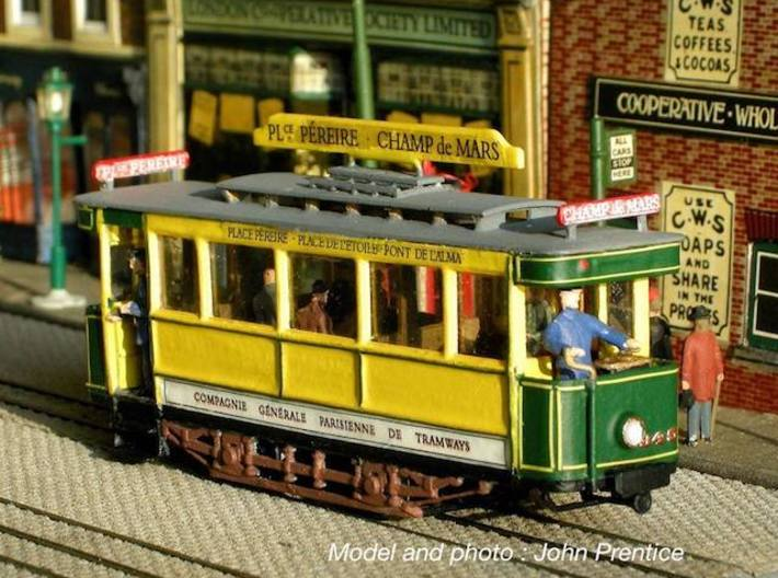 1:87 Tramway Paris type 300 3d printed This model is painted  and decorated by John Prentice. He modificated the roof for make the first 1905 version. The elements for this modification are not provided with this print.