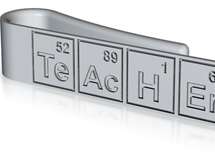 "Periodic table ""teacher"" tie bar 3d printed"