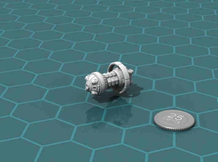 Rabbit Heavy Cruiser 3d printed Render of the model, with a virtual quarter for scale.