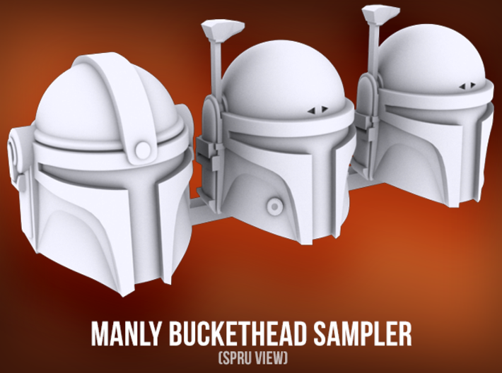 Manly Buckethead Sampler (x3) 3d printed