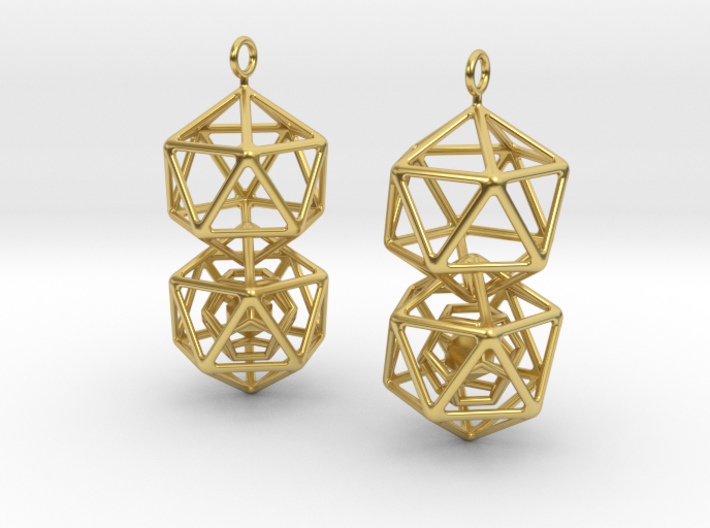 Icosahedron Dodecahedron Earrings 3d printed
