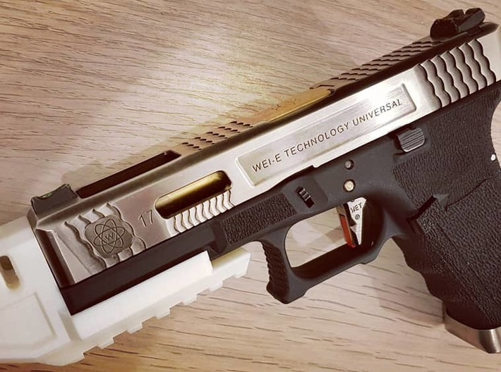 MJW Airsoft G17/18 Compensator V2 3d printed Prototype print in white PLA with WE FORCE 17