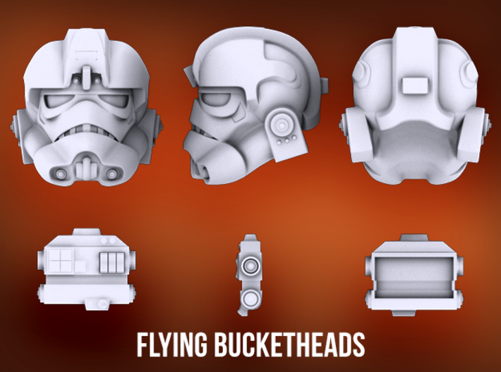 Deluxe Flying Bucketheads (x7) 3d printed