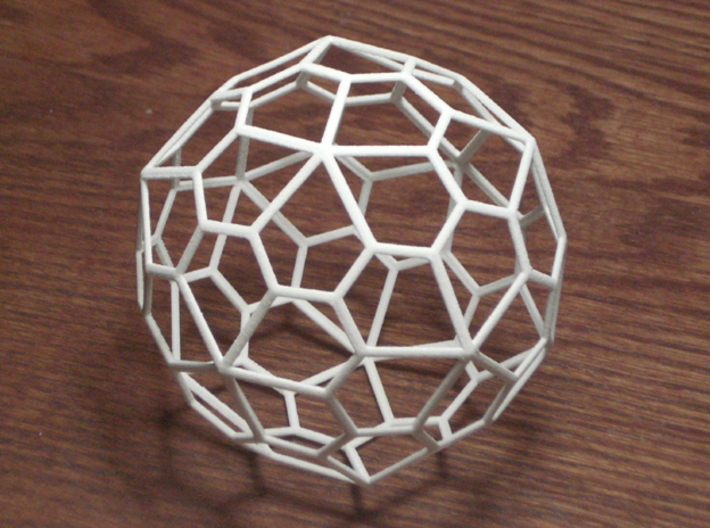 "Pentagonal Hexecontehedron, large 3d printed 60 sided polyhedron - photo is of a 3"" diameter one"