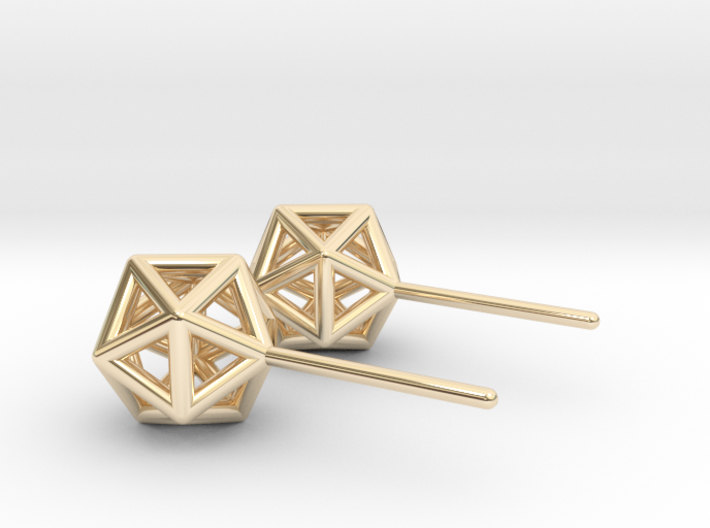 Simple Icosahedron Earring studs 3d printed