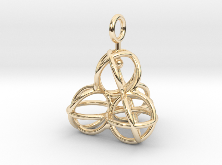 Tetrahedron Balls earring with interlock hook ring 3d printed