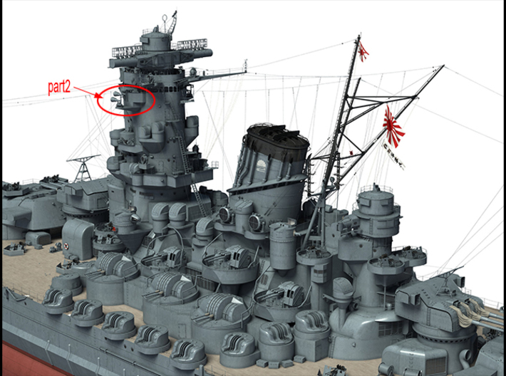 1/100 Yamato superstructures part2 3d printed