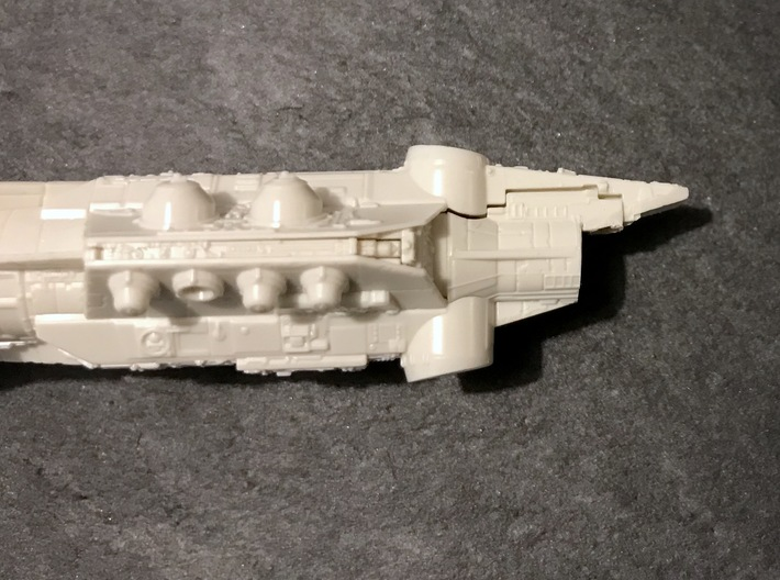 Solo's Pirate Ship mods, Bandai 1:1000 3d printed Trim off the Bandai cockpit so that it looks like this. You'll need to cut extremely carefully!