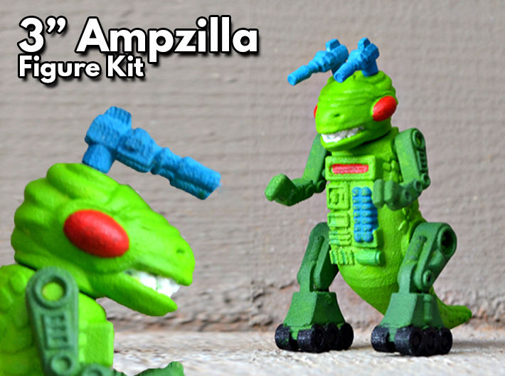 "Ampzilla, 3"" Version 3d printed Hand painted White Strong and Flexible"