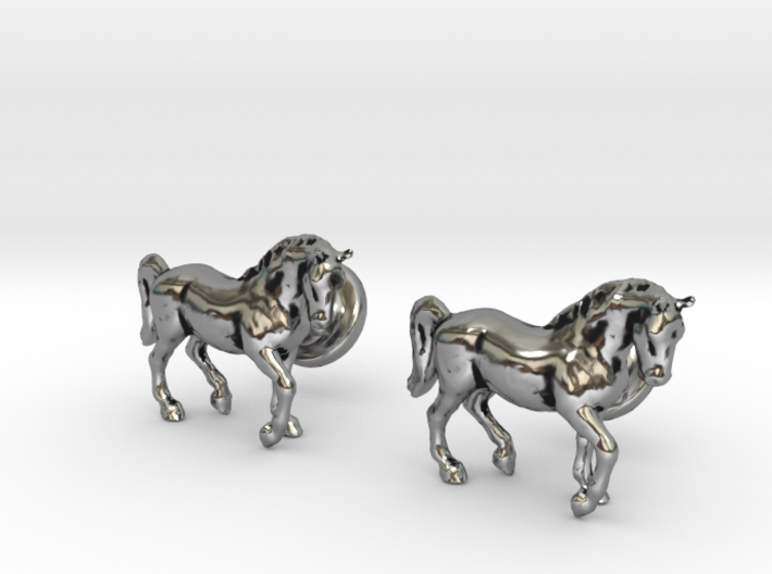 Stallion cufflinks 3d printed