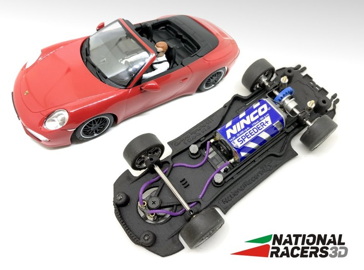 3D Chassis - Carrera Porsche 911 Carrera S Cabrio 3d printed Chassis compatible with Carrera model (slot car and other parts not included)