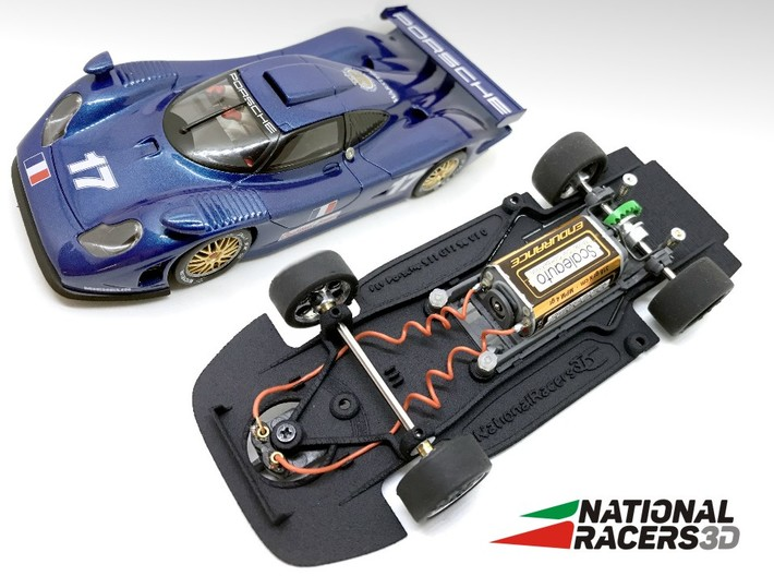 3D Chassis - Fly Porsche 911 GT1 98 (Combo) 3d printed Chassis compatible with Fly model (slot car and other parts not included)
