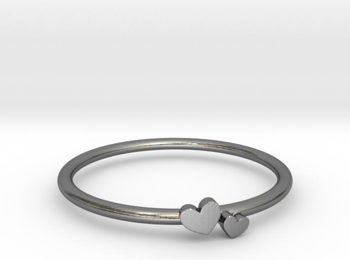 Twin Heart Ring (Multiple Sizes) 3d printed