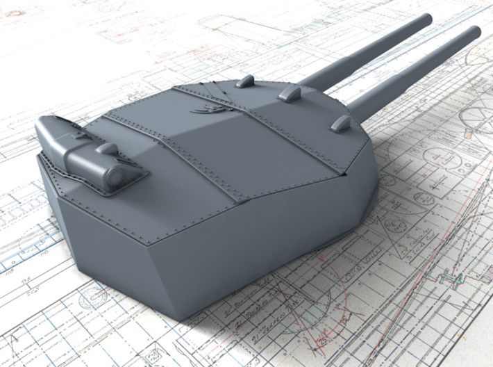 """1/200 HMS Colossus Class 1916 12"""" MKXI Guns x5 3d printed 3D render showing Y Turret Detail"""