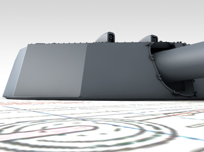 """1/200 HMS Colossus Class 1916 12"""" MKXI Guns x5 3d printed 3D render showing Turret Detail"""