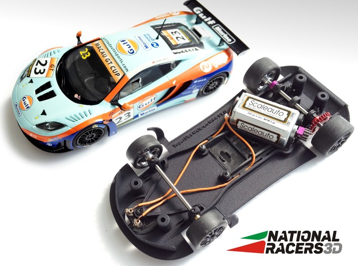 Chassis - SuperSlot Mclaren MP4 (AW/SW) 3d printed Chassis compatible with SuperSlot model (slot car and other parts not included)
