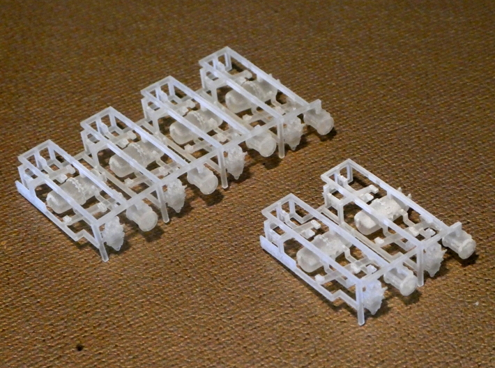 """HO AB Brake System Kit WITHOUT Regulator 3d printed These are our AB brake system sprues, without regulators.  In front is the """"small"""" size sprue, in SFDP; in back is the """"large"""" size sprue, in XSFDP.  The """"extra large"""" size sprue is not shown."""