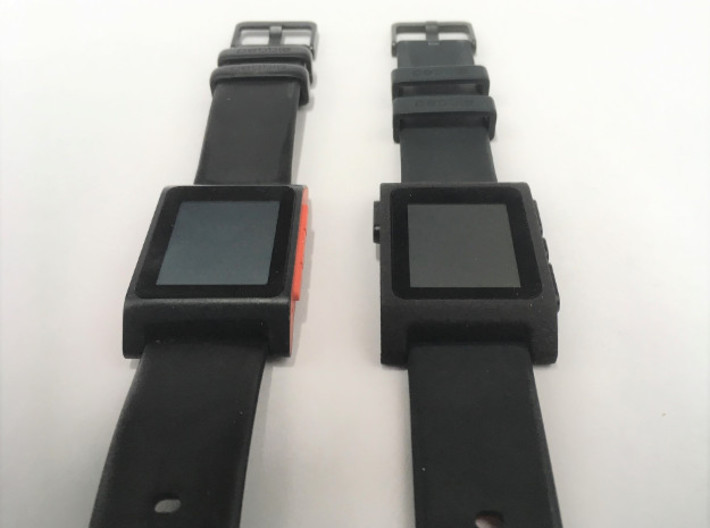 Pebble 2 Smartwatch Replacement Case 3d printed Side by side with the original
