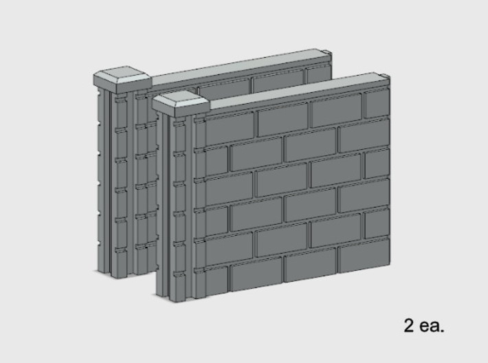 5' Block Wall - 2-Short L/S Jointed Intersections 3d printed Part # BWJ-014