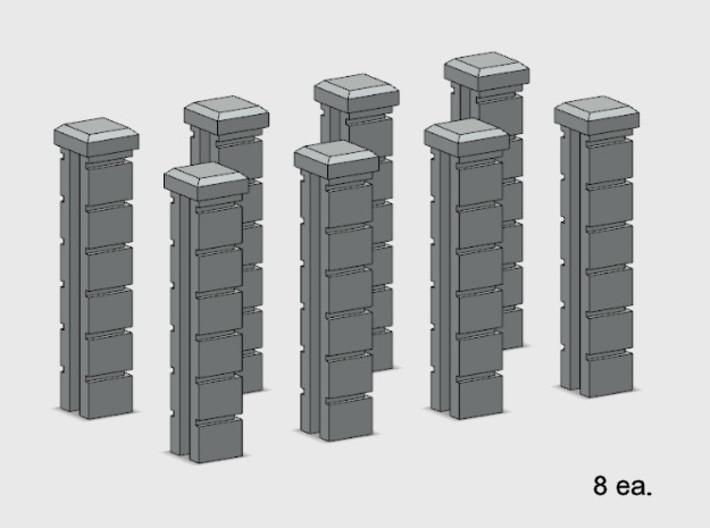 5' Block Wall - 8-Jointed End Columns 3d printed Part # BWJ-017